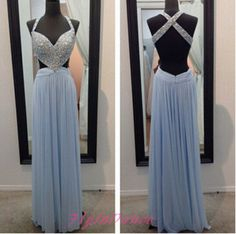 Light Blue Prom Dress A Line Prom Dresses With Silver Beading Straps Sparkle Long Backless Chiffon Evening Dress For Teens