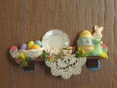 Dollhouse Miniature Easter Shelf.