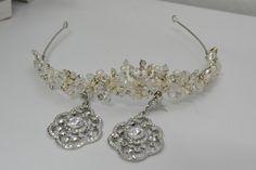 Acessórios que usei no meu casamento : tiara e brincos da Sun Bijou.