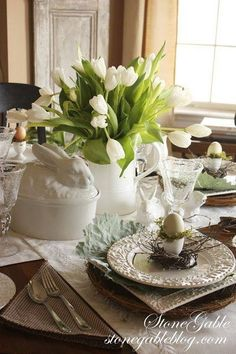 Easter table decor with white tulips and bunny tureen