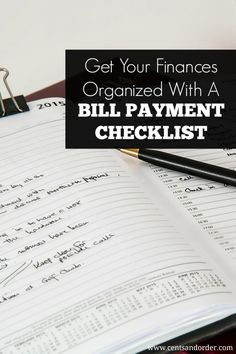 Get your finances organized with a bill payment checklist. This easy tip will help you missed payments and late fees. | Cents and Order