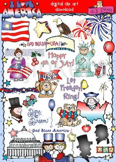 I Love America clip art, patriotic clip art, USA clip art, 4th of July, Independence Day