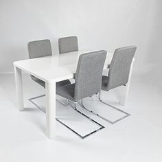 Charles Jacobs Dining Table Set with 4 Grey Fabric Chairs Chrome Legs, White High Gloss MDF, 4 Seats - Premium Quality, http://www.amazon.co.uk/dp/B01HBIUTF4/ref=cm_sw_r_pi_n_awdl_iMZKxb5FW6SNG