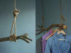 Kleiderstange, Tags DIY + Kleiderstange + Gaderobe DIY + Gaderobe aus Ast