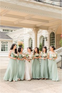 bride walks with bridesmaids in sage green dresses outside Ashford Estate | Summer wedding at Ashford Estate in Allentown, NJ photographed by New Jersey wedding photographer Idalia Photography. Planning an Ashford Estate wedding? Find inspiration here! #IdaliaPhotography #AshfordEstate #NJWedding #SummerWedding Ashford Estate, Sage Green Dress, Nj Wedding Venues, Bridesmaid Getting Ready, Bridal Parties, Brides And Bridesmaids, Walks, Summer Wedding, Wedding Photos
