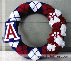 Arizona Wildcats Wreath  Yarn Wreath 14 Felt Flowers by TwoPinkies, $50.00