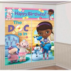 Set the stage for healing! Grab your stethoscope, and get ready for fun with the Doc McStuffins Scene Setter. This adorable poster set looks just like Doc McStuffins' house, and features the Doc and all her pals. Each kit has 5 pieces, including 2 large p Third Birthday, 4th Birthday Parties, Birthday Party Decorations, Party Themes, Party Ideas, Birthday Ideas, Happy Birthday, Party Party, Theme Ideas