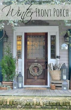 Winter Cottage Front Porch from Cottage in The Oaks. Some great ideas for transi. Winter Cottage Front Porch from Cottage in The Oaks. Some great ideas for transitioning from Christmas to a winter January porch! Cottage Front Porches, Front Door Porch, Front Door Decor, Front Doors, Country Porches, Winter Porch Decorations, Pintura Exterior, Christmas Porch, Decks And Porches
