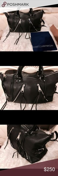 "Rebecca Mincoff Large Moto Satchel Black  Rebecca Mincoff Large Moto Satchel used couple of times, in very good condition .                                                                     H 9.25"" inch x L 14.5"" inch x D 7""           Handle drop 5.5"" inch Rebecca Minkoff Bags Satchels"