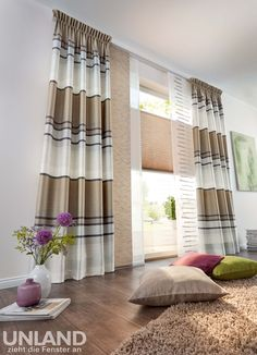 Unland Linares Cappuccino - Vorhang, Fensterideen, Gardinen und Sonnenschutz - curtains, contract fabrics, pleated blinds, roller blinds and more. Made in Germany 02