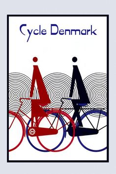 Riding Bike Bicycle Cycle Denmark Sport Art Deco Vintage Poster Repro FREE SH