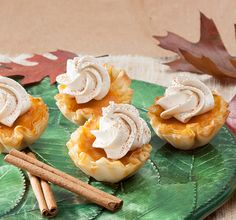 Mini Shell Pumpkin Pies with Brown Sugar Cream Whip up a tasty bite-sized dessert in just thirty minutes? Libby's Pumpkin, Pumpkin Tarts, Mini Pumpkin Pies, Easy Pumpkin Pie, Pumpkin Pie Recipes, Baked Pumpkin, Pumpkin Dessert, Pie Dessert, Pumpkin Pie Bars