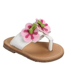 Look what I found on #zulily! White & Pink Blossom Sandal #zulilyfinds