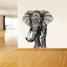 Wall Decal Vinyl Sticker Decals Art Decor Design Elephant Mandala Ganesh Indian Buddha Pattern Damask Bedroom Family Gift Dorm Modern (r294)...