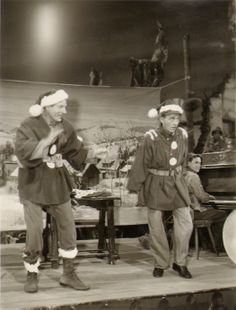 "Danny Kaye and Bing Crosby on the set of ""White Christmas"""