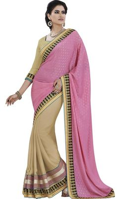 Reveal your elegance dressed in this pink and beige jacquard raw silk half n half sari. You could see some fascinating patterns carried out with lace and resham work. Upon request we can make round front/back neck and short 6 inches sleeves regular saree blouse also. #LovelyPinkAndCreamHalfAndHalfSari
