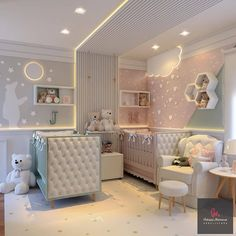 Perfect personal room decoration for you baby! Twin Baby Rooms, Baby Bedroom, Baby Room Decor, Room Baby, Baby Cribs, Girls Bedroom, Bedrooms, Kids Bedroom Designs, Baby Room Design