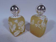 Webb Perfume Bottles - Pair Japonesque Perfumes - English Cameo Art Glass #Webb