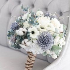 Wedding Bouquets Our grey, navy and cream bouquet is a rustic beauty. This stunning bouquet has a great combination of flowers that work seamlessly with each other. With a mix of silk and wooden flowers this bouquet w Floral Wedding, Wedding Colors, Trendy Wedding, Wedding Floral Arrangements, Dusky Blue Wedding, Wedding Peach, Spring Wedding Flowers, Bouquet Bride, Bouquet Wedding