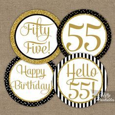 These printable 55th Birthday cupcake toppers will make your celebration extra special with their black and gold glitter faux bling. You can also
