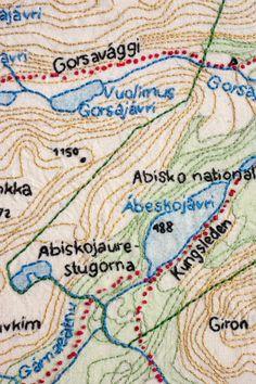 Broderad karta över Abisko av mig (Elin Jantze) Embroidered map of the Abisko region by Elin Jantze