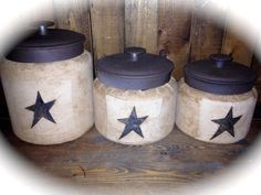 Primitive Star General Store Style Canister Set-3 Piece-Can be expanded to a 4 to 5 piece set.