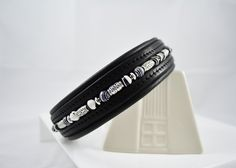Zebra Silver Beaded Leather Dog Collar
