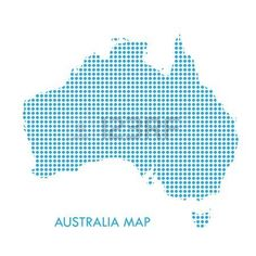 Australia map with blue dotted pattern isolated on white background. For Holiday cards, Patriotic, Advertising, Web banner, Australian map sign, icon, symbol, web site, app, wallpaper design. Vector illustration. Illustration