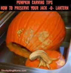 Pumpkin Carving Tips - How to Preserve your Jack -o- Lantern @DeAnn Lorberg @Laramie✞♡  to make our pumpkins last longer!!