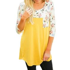 Women Blouse,Haoricu Women Fashion Floral Splicing Loose Casual Blouse Cotton Tops With Pocket (M, Yellow)