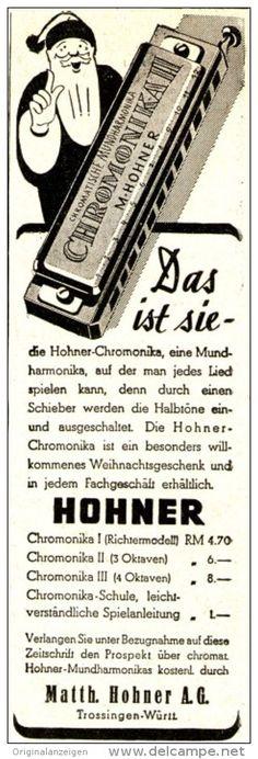 Original-Werbung/ Anzeige 1950 er Jahre : HOHNER CHROMONIKA MUNDHARMONIKA - ca. 45 x 140 mm