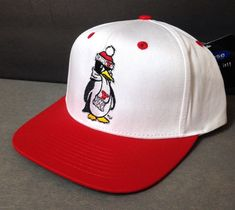 3dca502d580b6 New YOUNGSTOWN STATE PENGUINS SNAPBACK HAT White Red Ohio Flat Bill  Men Women