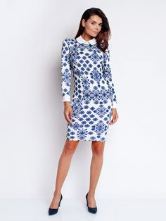 2ea3ddcf989b Dámské šaty NOMMO - bílá-modrá White Outfits