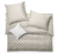 Contemporary & Modern Luxury Polka Dot duvet covers and bedding in Grey, Silver or Tan tones with white polka dots. Schlossberg Punto at J Brulee Home Modern Luxury, Modern Contemporary, Luxury Sheets, Bedroom Bed, Bedrooms, Linen Bedding, Bed Linens, Bed Covers, Bed Pillows
