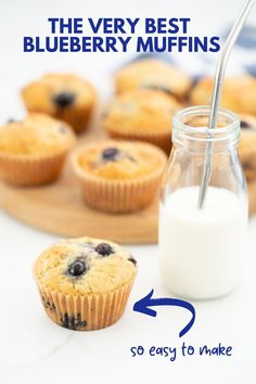 These are the best blueberry muffins ever! A very easy recipe with simple ingredients, but combined they make the most delicious muffin. #blueberrymuffins #muffins #kidssnacks Healthy Homemade Snacks, Healthy Muffin Recipes, Healthy Muffins, Healthy Snacks For Kids, Healthy Baking, Best Blueberry Muffins, Blue Berry Muffins, Baby Muffins, Kid Snacks