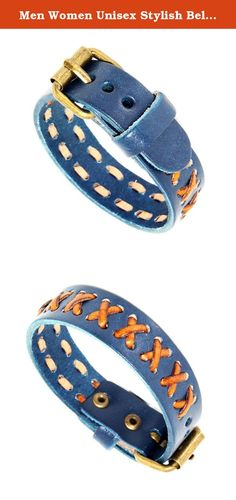 """Men Women Unisex Stylish Belt Buckle Style Weaved Cross Wrapped Braided Blue Leather Bracelet. Product Type - Stylish Belt Buckle Style Bracelet Material - Leather , Metal Closure Type - Belt Buckle Style Width - 0.67"""" Inch Full Length - 9.5"""" Inches Size - Approx 5.5"""" - 7.5"""" Inches (6 Pin Holes) Color - Blue Quantity - 1 piece Condition - Brand New."""