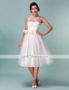 Wedding Dress A Line Empire Knee Length Tulle V Neck Halter Little White Dress With Bow and Sash - USD $ 119.99