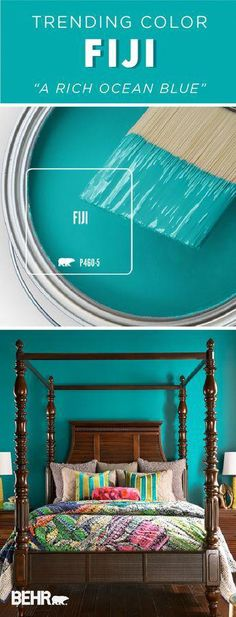Get lost in the deep blue hue of the Behr Paint Color of the Month: Fiji. A bright shade of turquoise, this modern hue makes a statement when paired with this dark wood furniture in this master bedroom. Behr Paint Colors, Kitchen Paint Colors, Paint Colors For Home, House Colors, Small Bedroom Paint Colors, Bright Paint Colors, Turquoise Paint Colors, Bright Bedroom Colors, Aqua Paint Colors