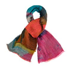 Silk and Wool patchwork scarf Hand dyed One of a kind wrap @DiklaLevskyDesign