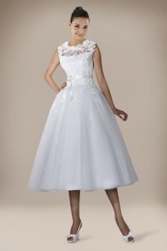Tea-length Princess Wedding Gown with Lace Embellishment