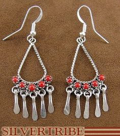 Native American Indian Zuni Jewelry Sterling Silver & Coral Hook Dangle Earrings