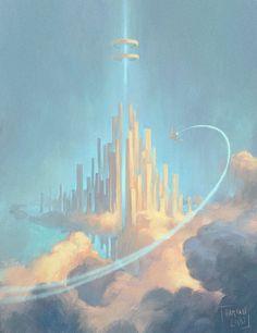 Cloud City, by Harkalé Linaï on DeviantArt Fantasy City, Fantasy Castle, High Fantasy, Illustrations, Illustration Art, Episode Interactive Backgrounds, Cloud City, City Aesthetic, Fantasy Landscape