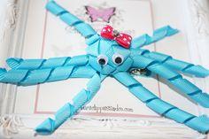 Torquoise Blue Octopus Ribbon Sculpture Hair bow