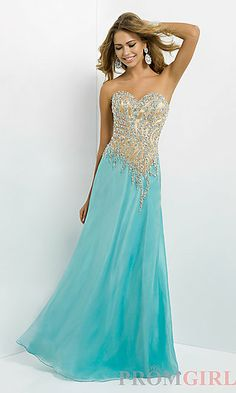 Long Strapless Two Tone Dress at PromGirl.com