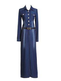 Western Elegant Newly Lapel Long Sleeve Blue Jean Dresses