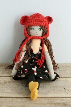 Handmade doll. Fabric doll. Cotton and linen fabric. Crochet bonnet. Hand embroidery. Bowling dress.