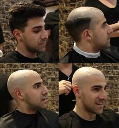 Before After Hair, Before And After Haircut, Short Haircuts, Haircuts For Men, Bald Guy, Bald Look, Mr Clean, Shaving Your Head, Bald Heads