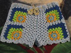 HECHO POR MI Crochet Shorts Pattern, Crochet Pants, Crochet Romper, Crochet Diagram, Crochet Clothes, Crochet Bikini, Crochet Top, Crochet Patterns, Boho Shorts