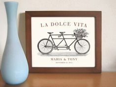 Unique Engagement 11x14 Gift Italian Wedding Decor by DexMex