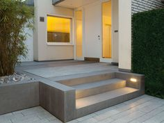 Front Door Steps, Front Stairs, Stairway Lighting, Landscape Steps, Patio Steps, Exterior Stairs, Outdoor Stairs, Modern Bungalow, Front Door Design